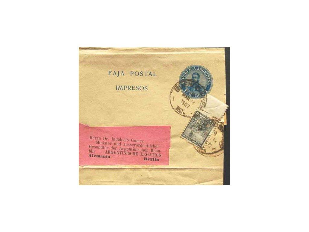 Argentina, 1907, novinová páska 1C dofr. zn. 2C,