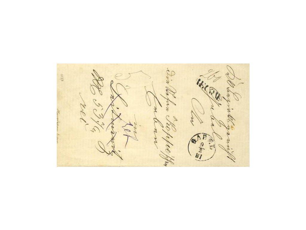 Gabel + Recom, skládaný dopis z roku 1881