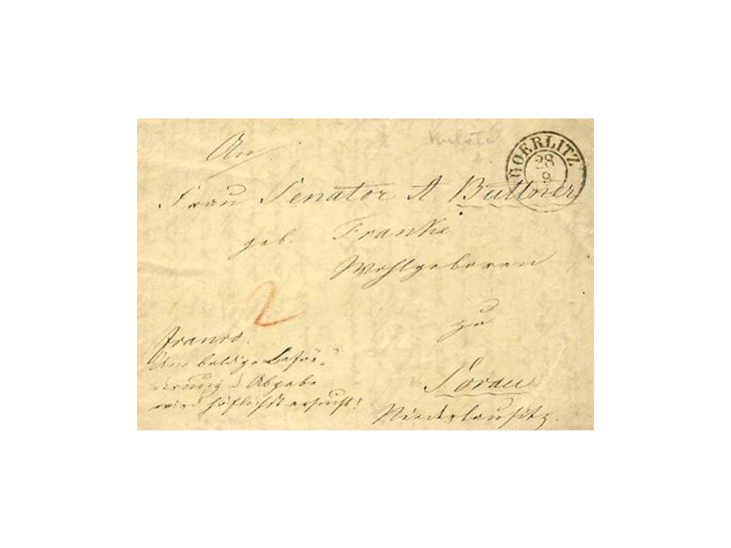 Goerlitz, skládaný dopis z roku 1840