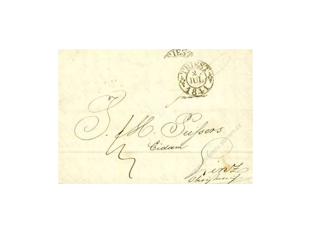 Triest, skládaný dopis z roku 1841