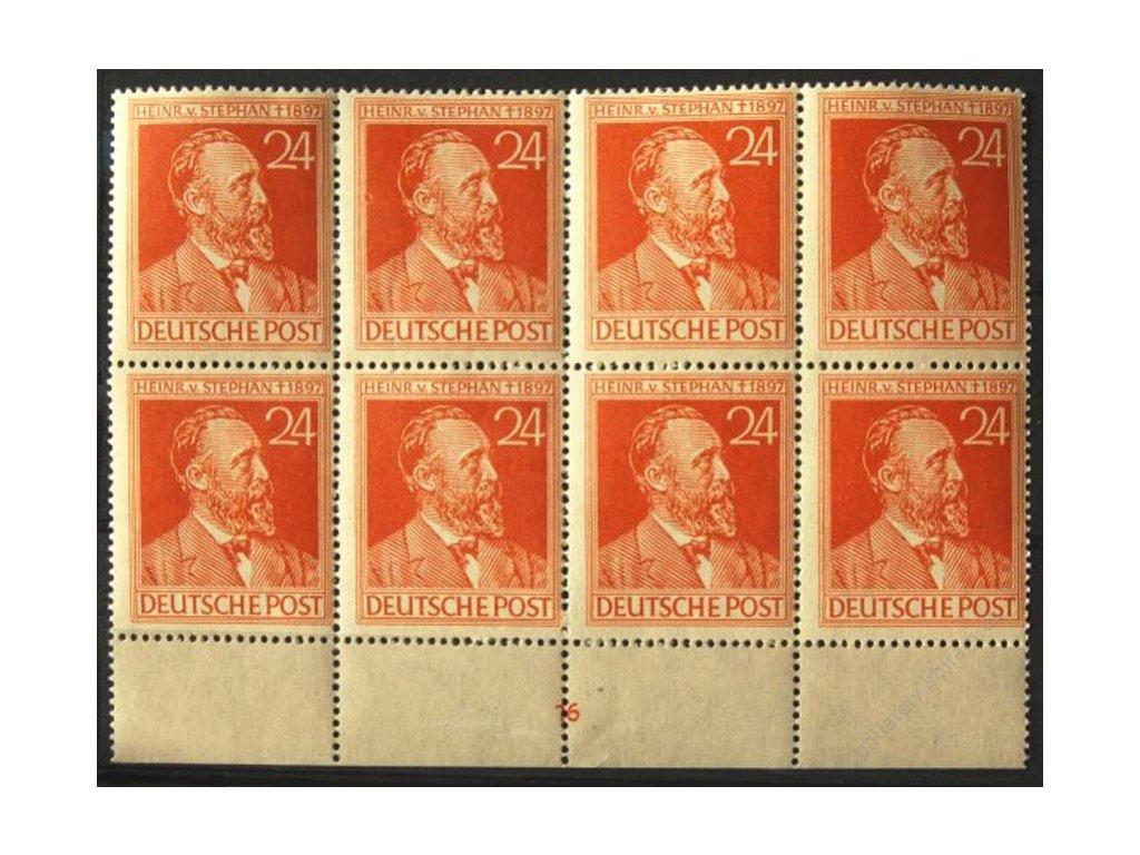 Společné vydání, 1947, 24Pf Stephan, dolní kraj. 8blok s DZ 16, MiNr.963, **