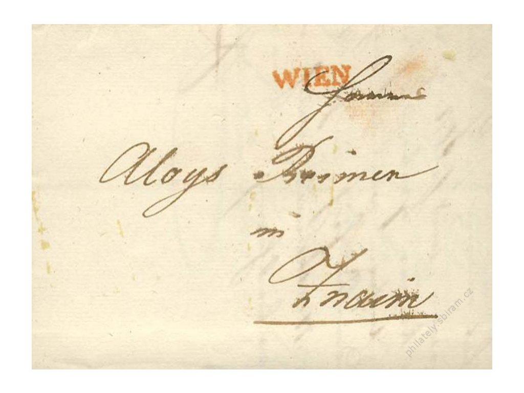 Wien, červené razítko, skládaný dopis z roku 1830