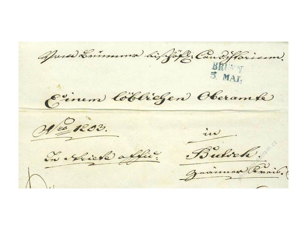 Brunn, modré razítko, dopis z roku 1845