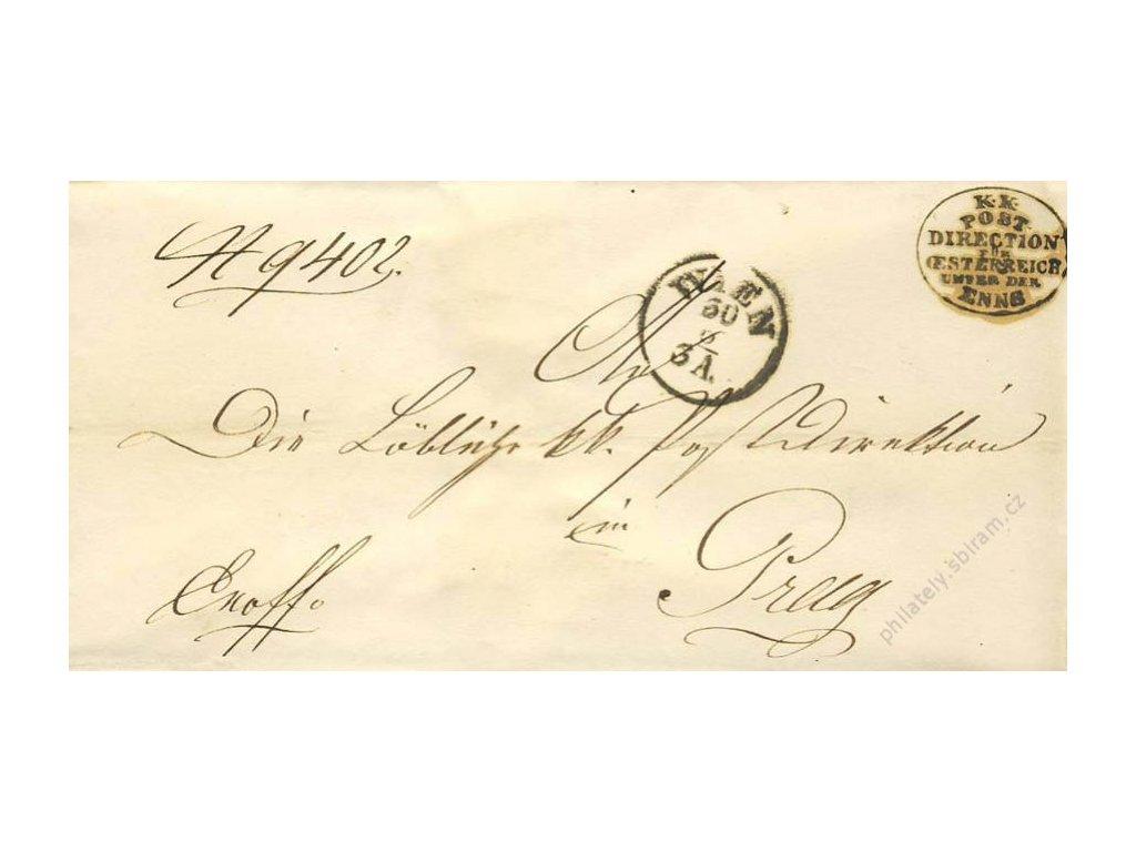 Wien, razítko K.K.Post direction, dopis z roku 1858