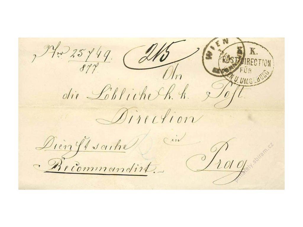 Wien, razítko K.K.Post direction, dopis z roku 1877