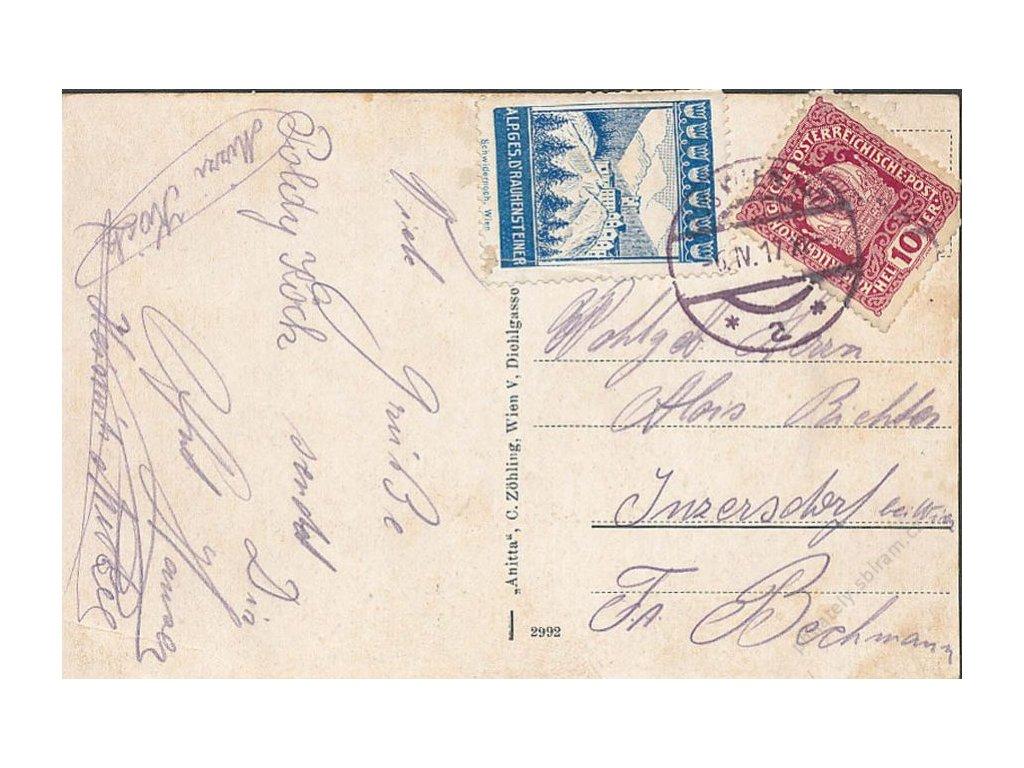 Pohlednice vyfr. zn. 10h a propagační známkou, DR Wien 6.4.1917