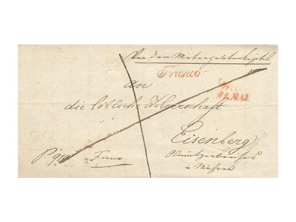 Wien + Franco, červená razítko, skládaný dopis