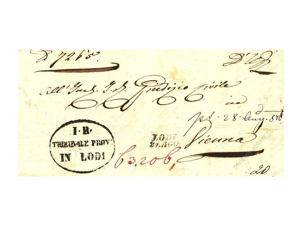 Lodi, skládaný dopis z roku 1849, stopy pošt. provozu