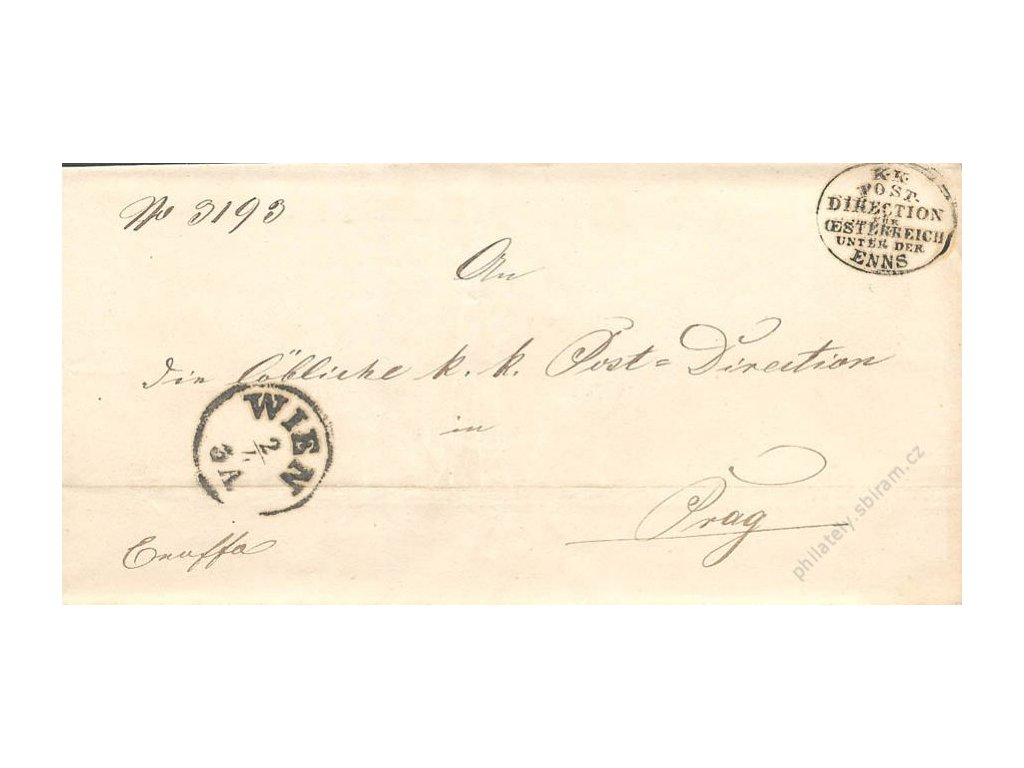 Wien + K.K. Post Direction, dopis z roku 1859