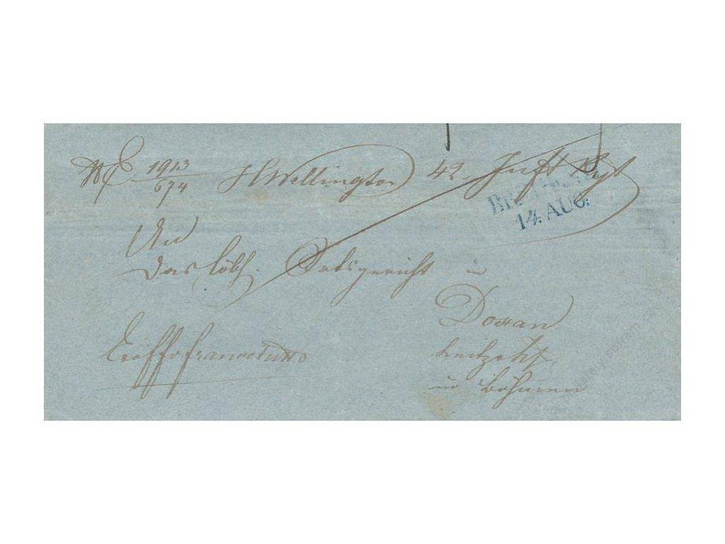 Bregenz, modré razítko, skládaný dopis z roku 1848