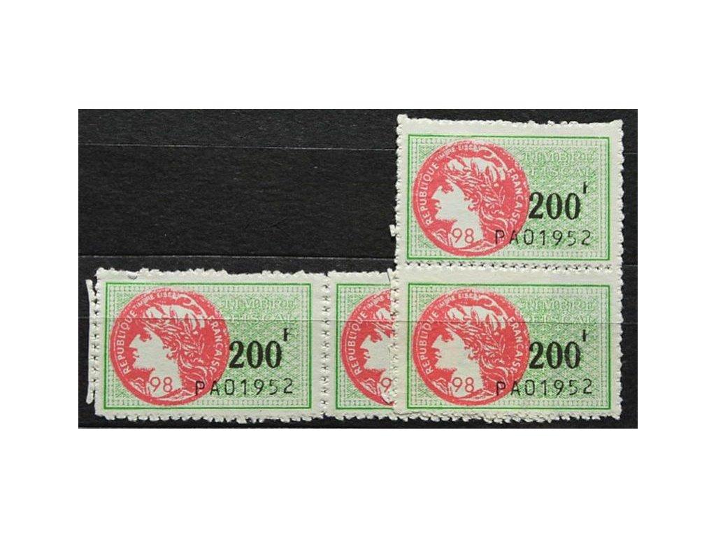 Francie, 1952, 4 ks kolků 200F PAO 1952, (*)