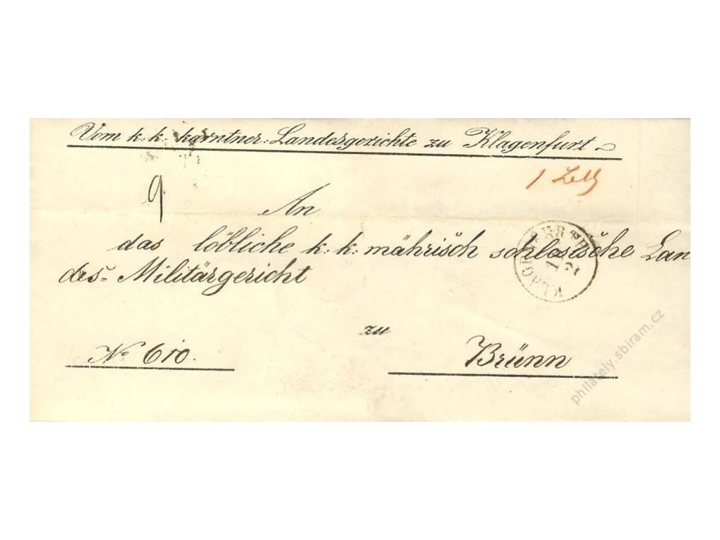 Klagenfurt, skládaný dopis z roku 1852