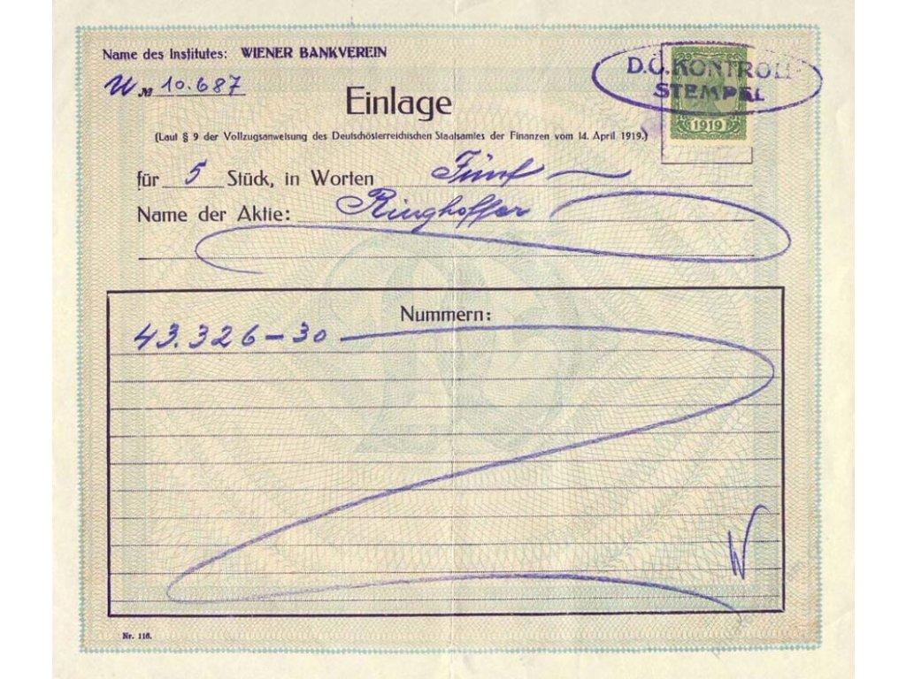 Einlage, školní pomůcka z roku 1919, A5, přeloženo