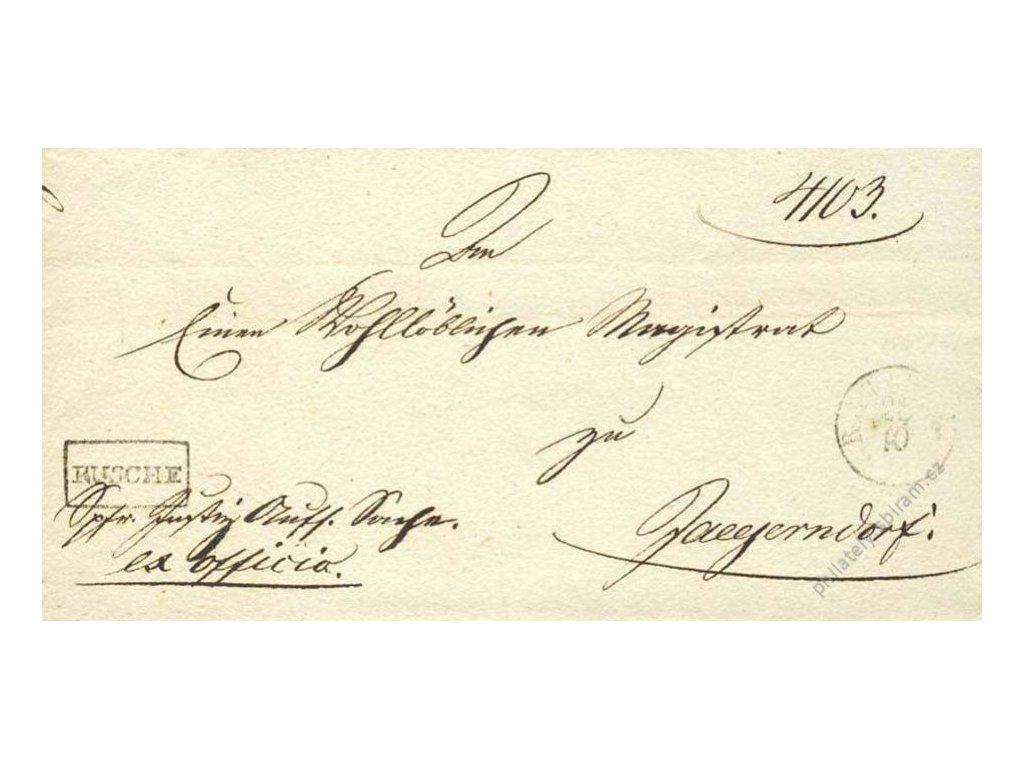 Rusche, skládaný dopis z roku 1840