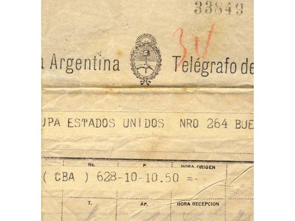 Argentina, 1935, DR Buenos Aires, telegram, složen