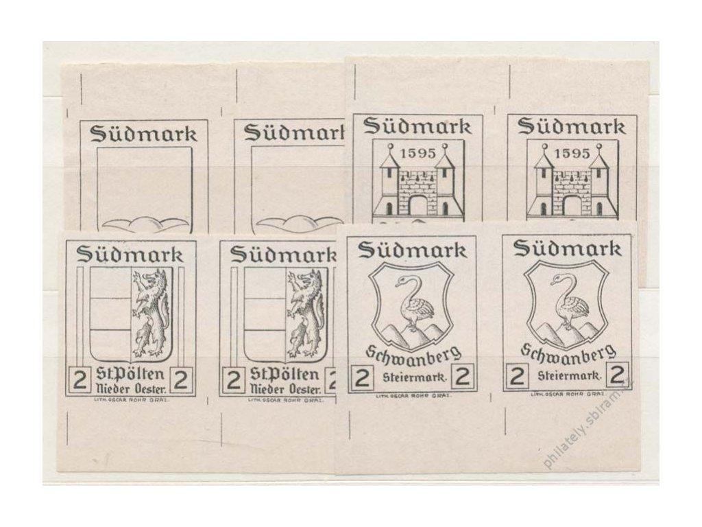 Sudmark, 2h Znaky, 1905, 4 ks 2pásek ZT, (*)