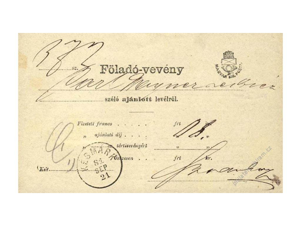 Maďarsko, 1881, DR Késmárk, formulář Föladó-vevény