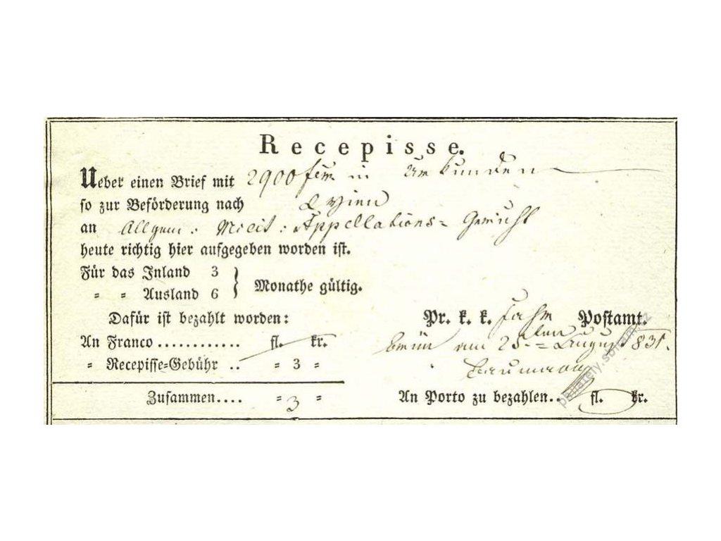 Brno, recepis z roku 1831