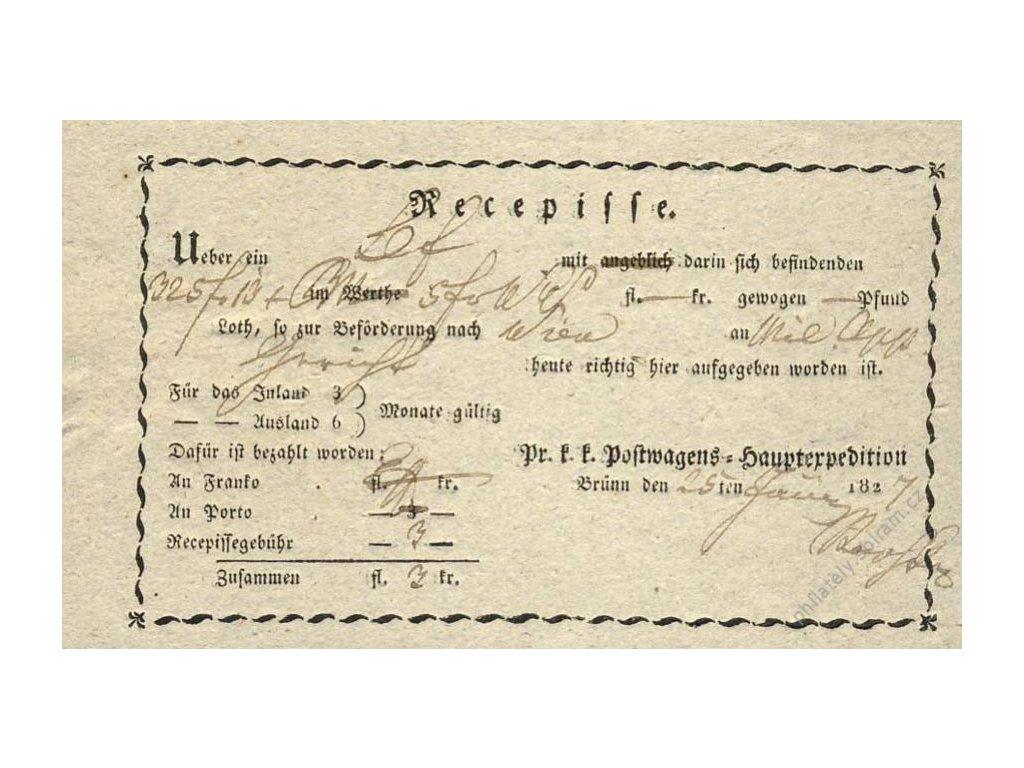 Brno, recepis z roku 1827, přeloženo