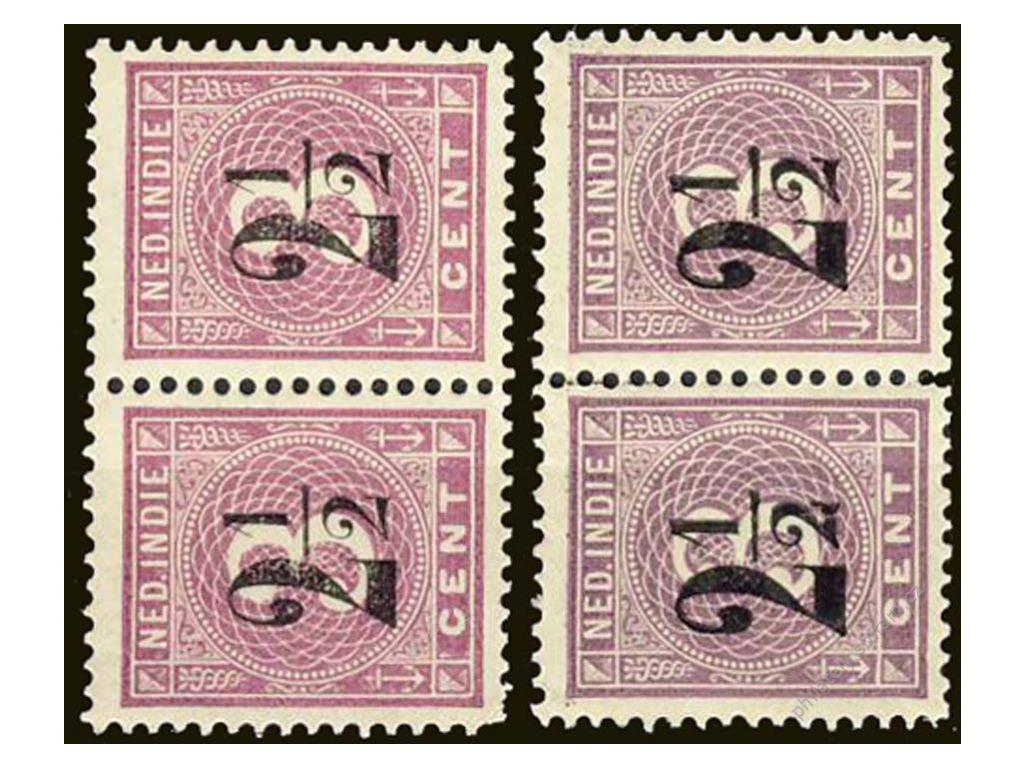 Indie, 1902, 2 1/2C/3C fialová, 2pásky, odstíny **