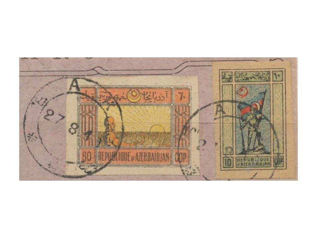Aserbaidžán, 1920, DR BAKU, výstřižek, MiNr.1y,4y