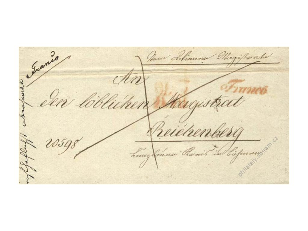 Wien + Franco, červená razítka, skládaný dopis