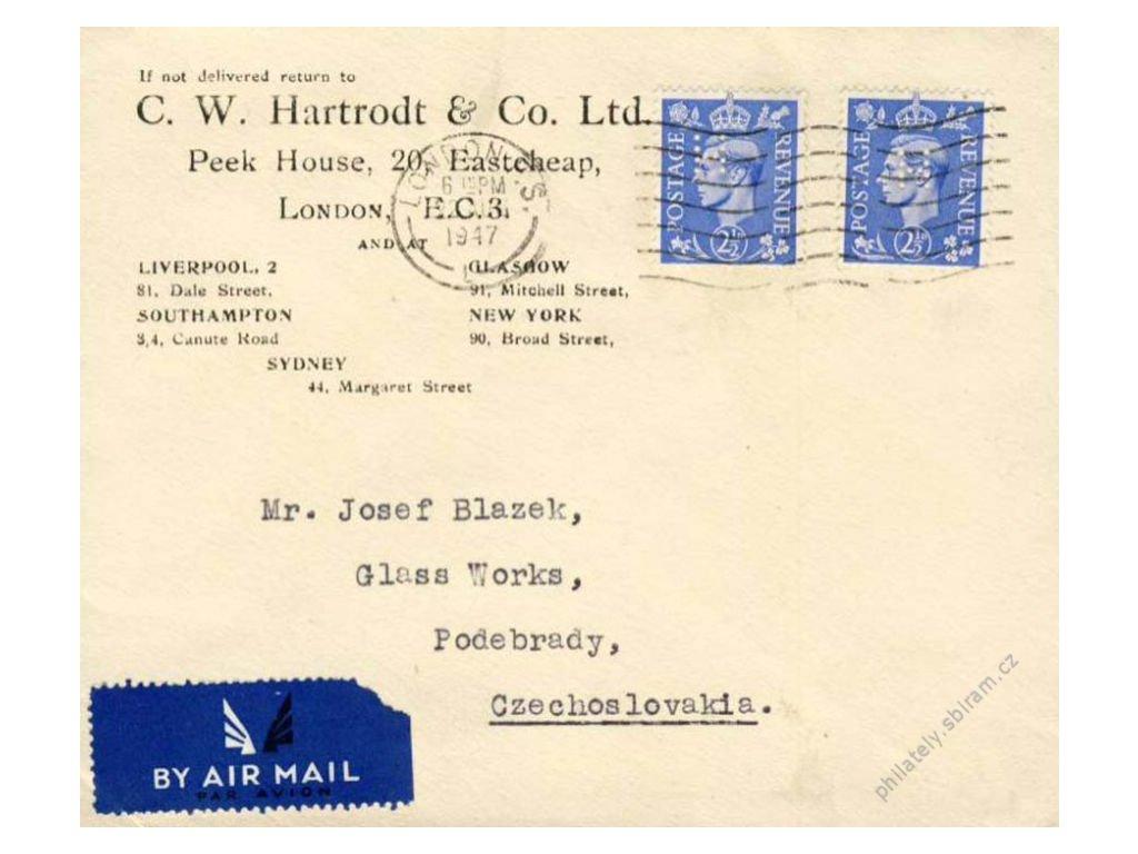 Anglie, firma C. W. Hartrodt, letecký dopis