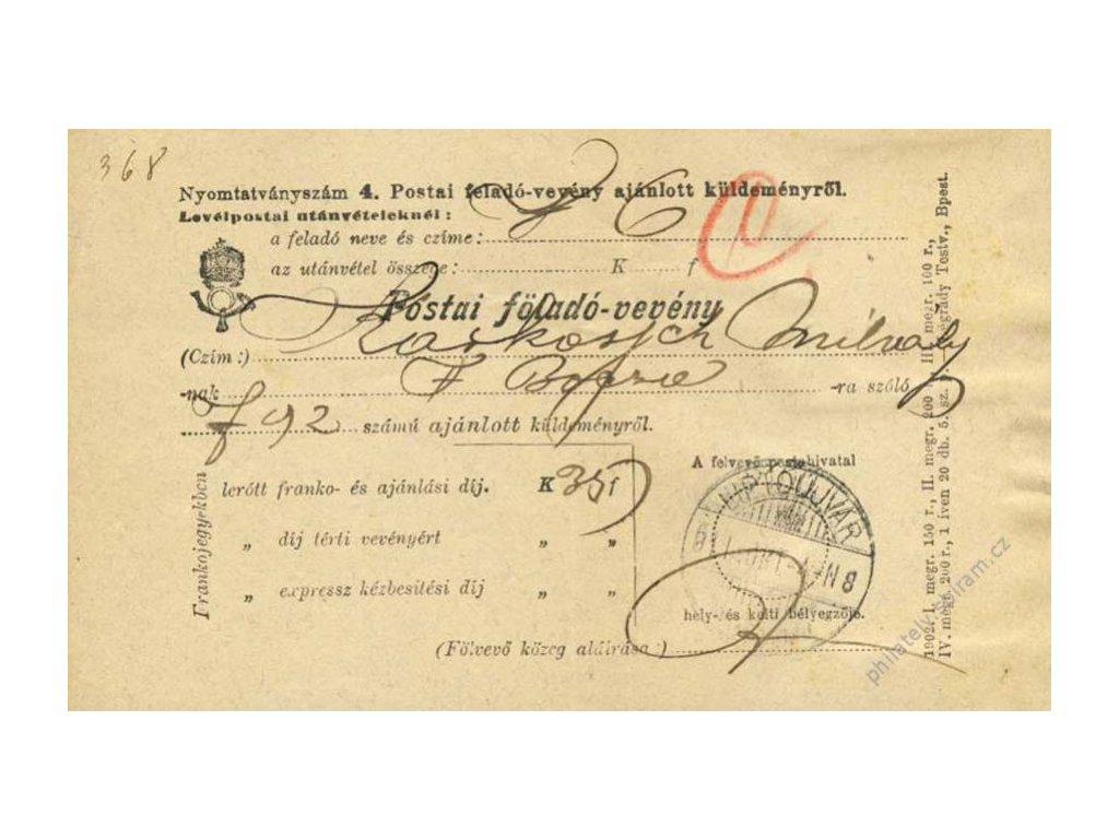 Maďarsko, 1881, DR Liptoujvar, formulář Postai