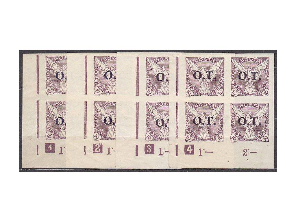 10h fialová, 4 roh. 4bloky s DČ 1,2,3,4, Nr.OT1, **/*