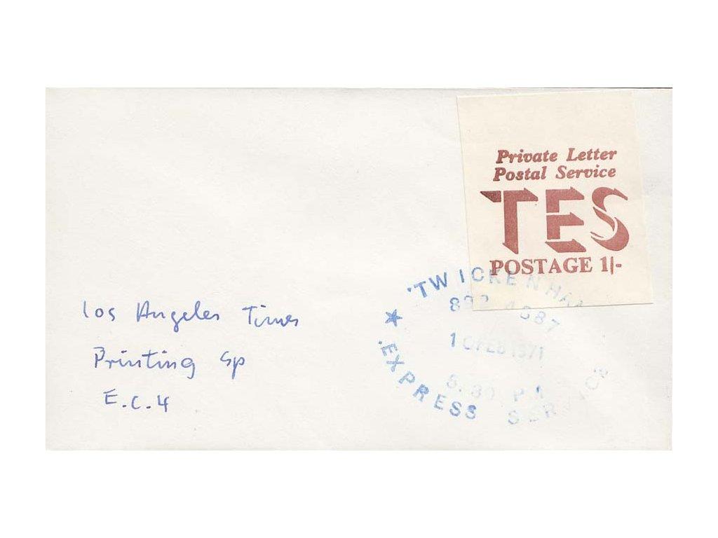 1971, dopis vyfr. známkou Britské privátní pošty, zasl. v Anglii