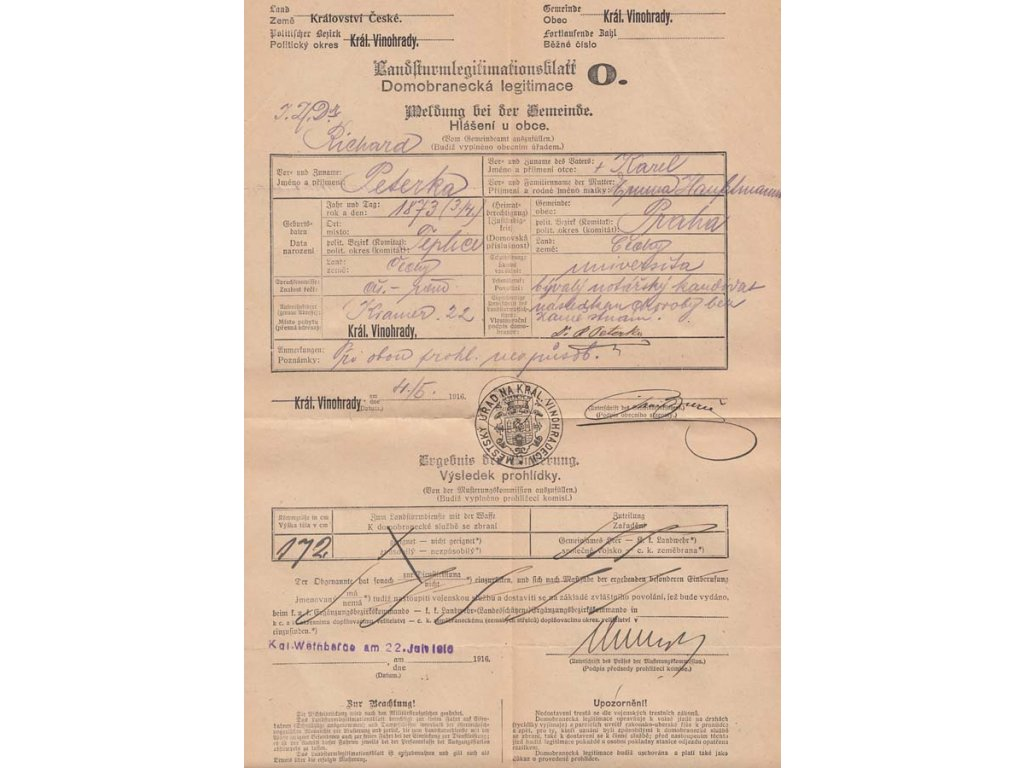 Domobranecká legitimace z roku 1916, Král. Vinohrady, A4