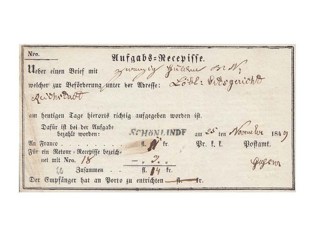 Schönlinde, modré razítko, recepis z roku 1849