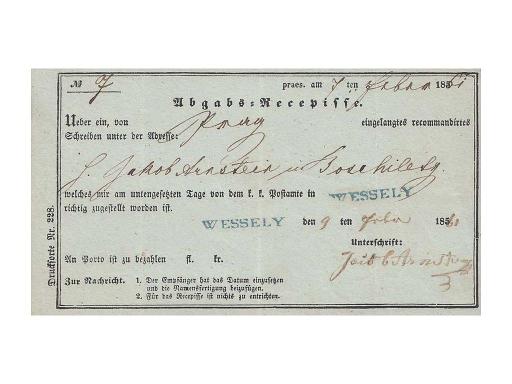 Wessely, modré razítko, recepis z roku 1860