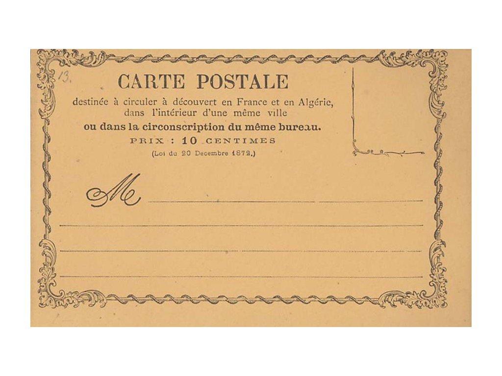 Alžír, 1872, dopisnice 10C, neprošlé