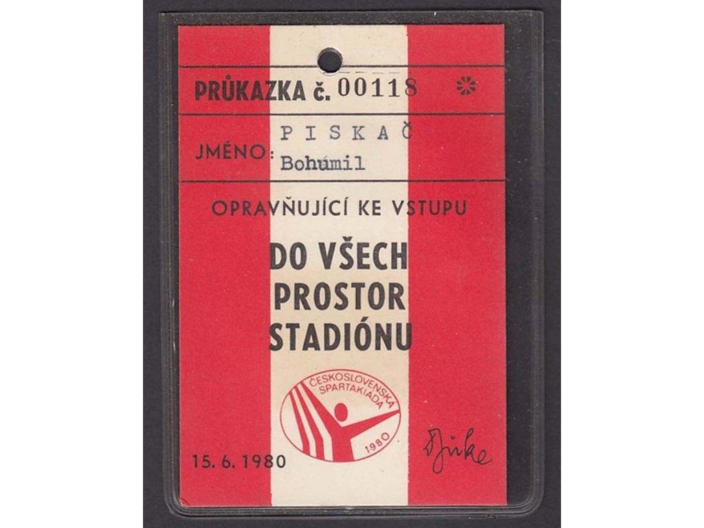 Spartakiáda, 1980, průkazka do Všech prostor stadiónu