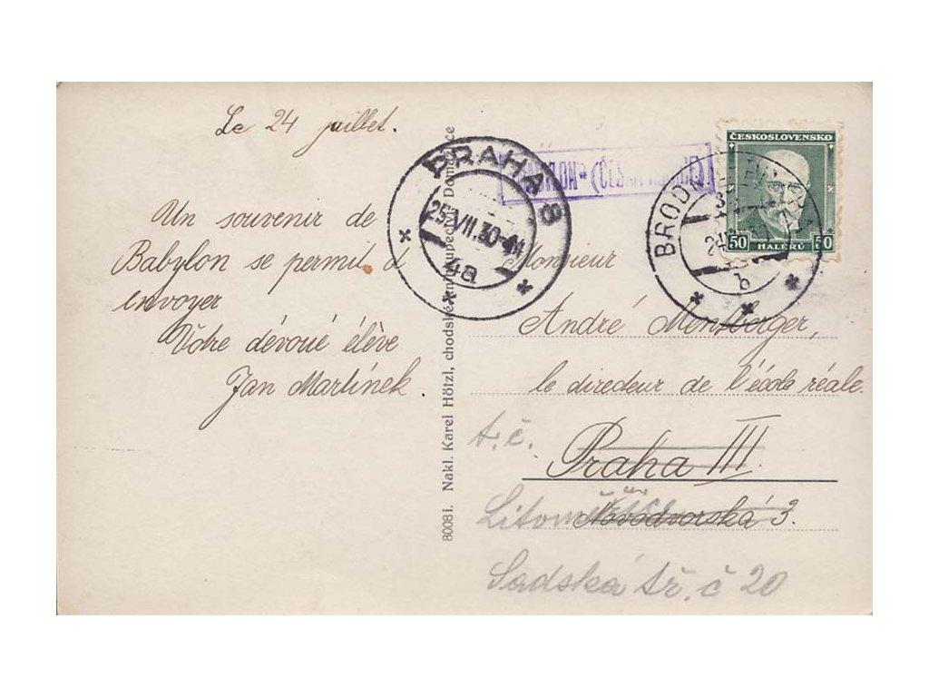 Babylon (Česká Kubice), vlakové razítko, pohlednice