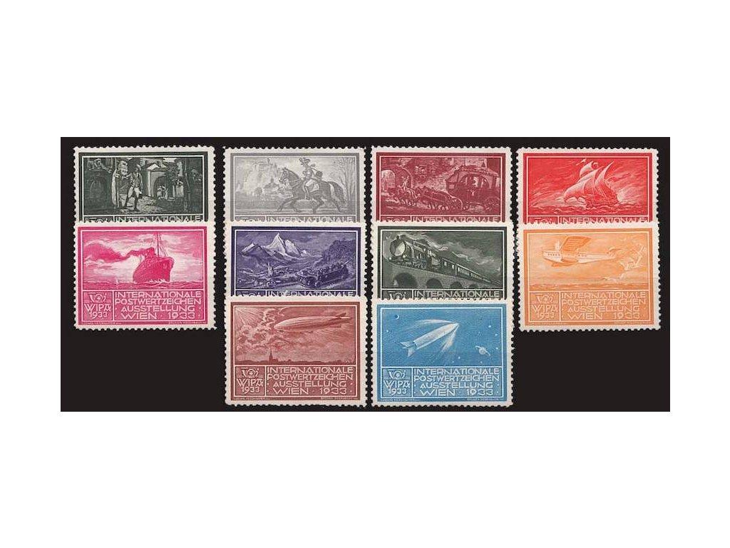 WIPA 1933, 10 ks výstavních nálepek, **/* , dv