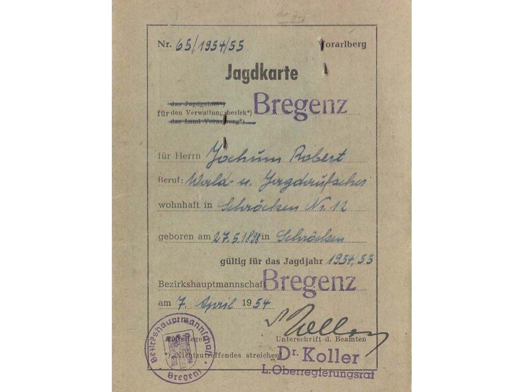 Jagdkarte, průkaz z roku 1958, stopy používání