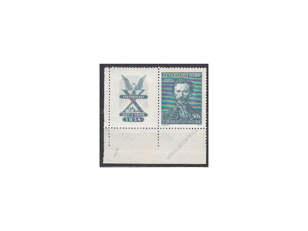 50h Fugner, levý dolní roh. kus s kuponem s DZ na okraji I-I, Nr.339, * po nálepce