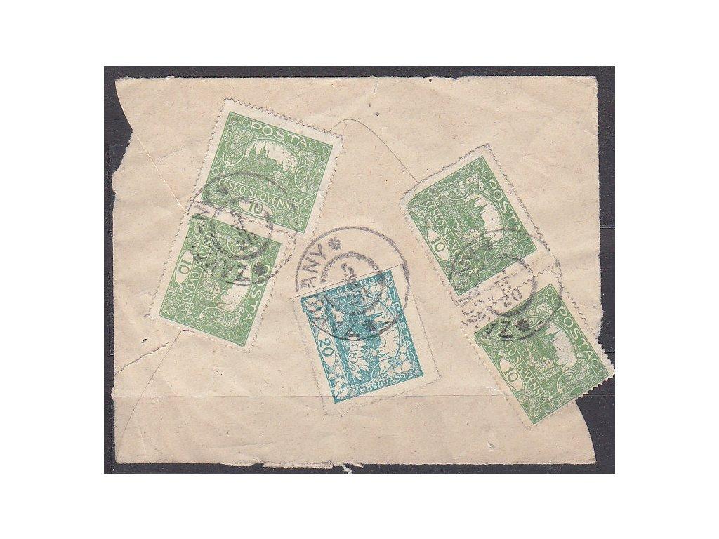 Zadní strana dopisu vyfr. 4krát 10h Řz.13 3/4 - 1krát rámečkový typ, prošlé 1920