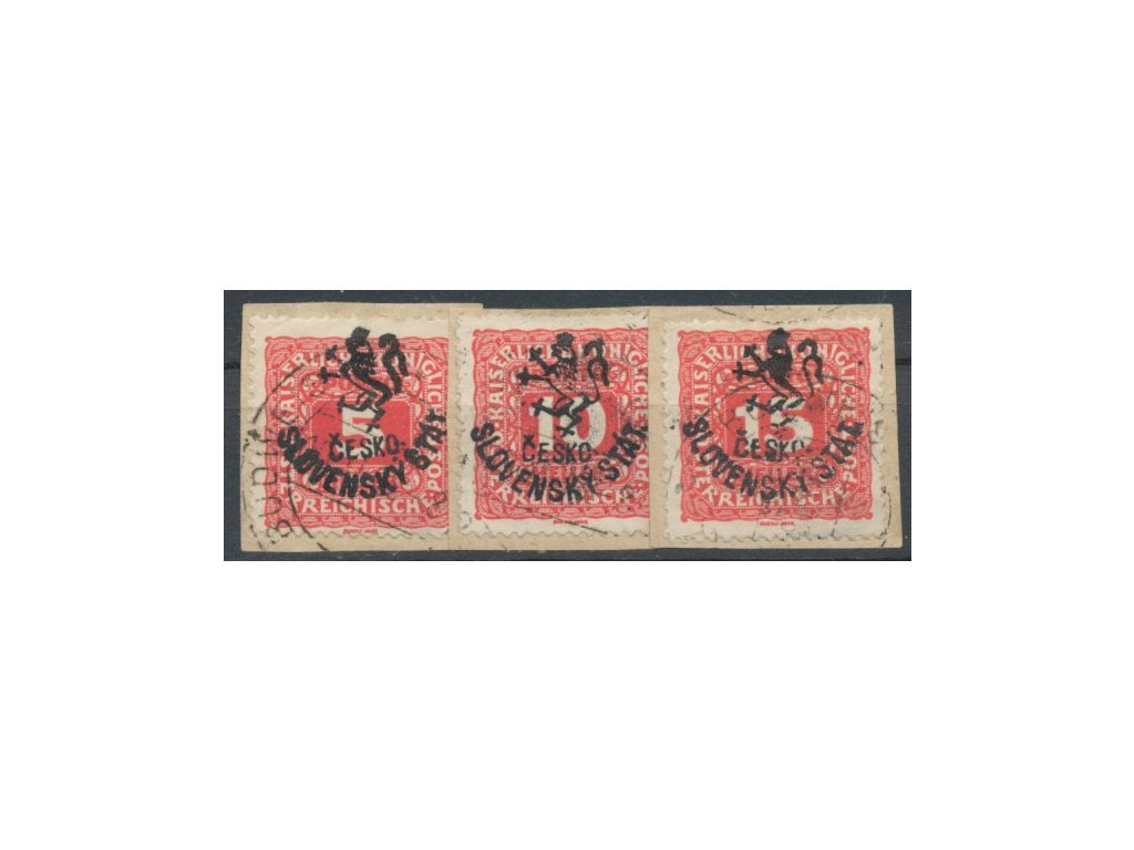 Horner, 5,10 a 15h Doplatní, malé výstřižky, Nr.RV108-110, razítkované