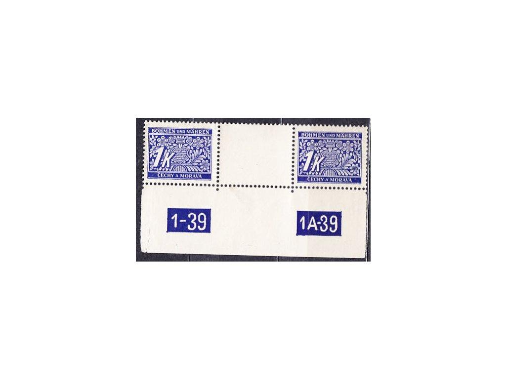 1K modrá, meziarší s DČ 1-39 1A-39, Nr.DL9, **