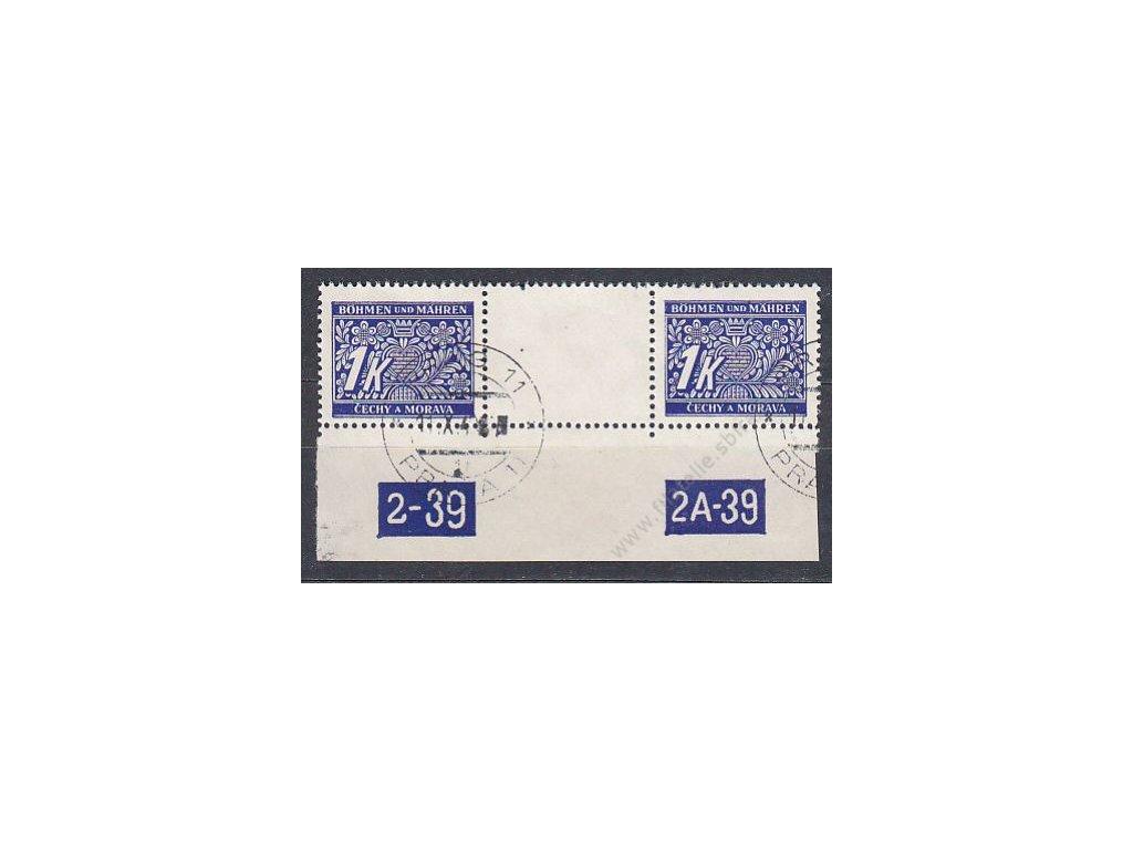 1K modrá, meziarší s DČ 2-39, Nr.DL9, razítkované