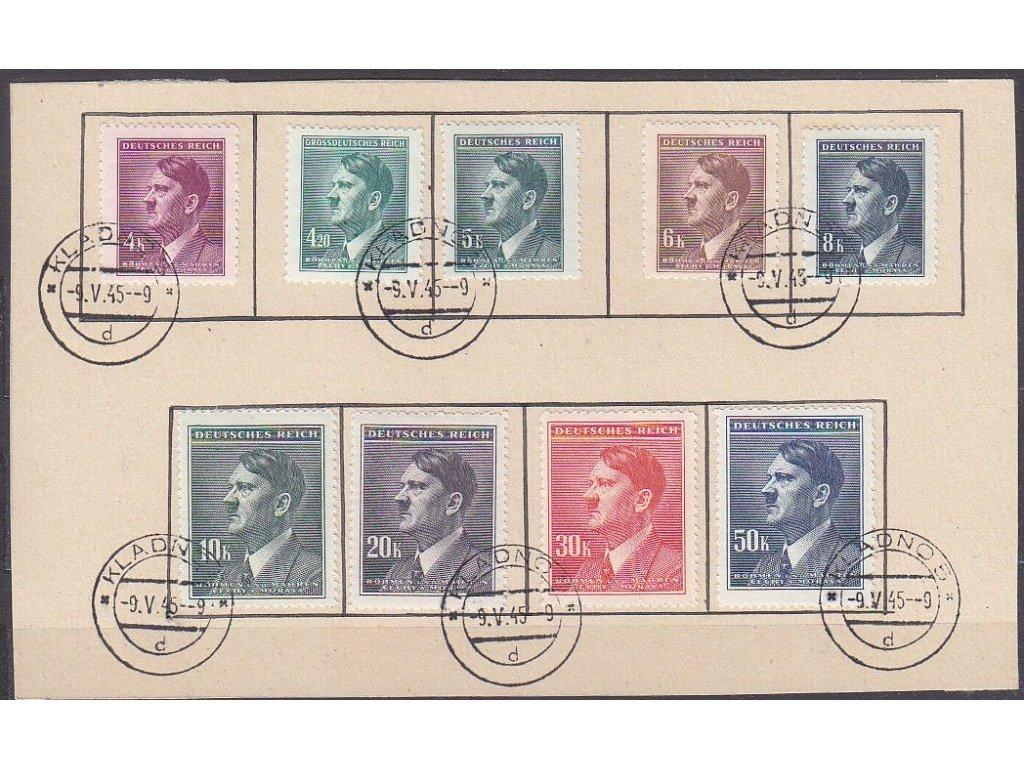 4-50K Hitler, 9 hodnot na výstřižku s razítkem KLADNO 9.5.45