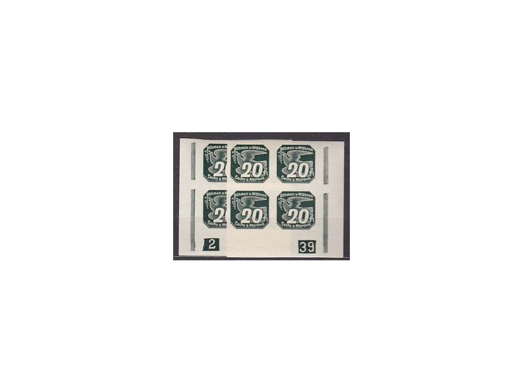 1939, 20h zelená, 2 roh. 4bloky s DČ 2-39 L+P, Nr.NV7, **