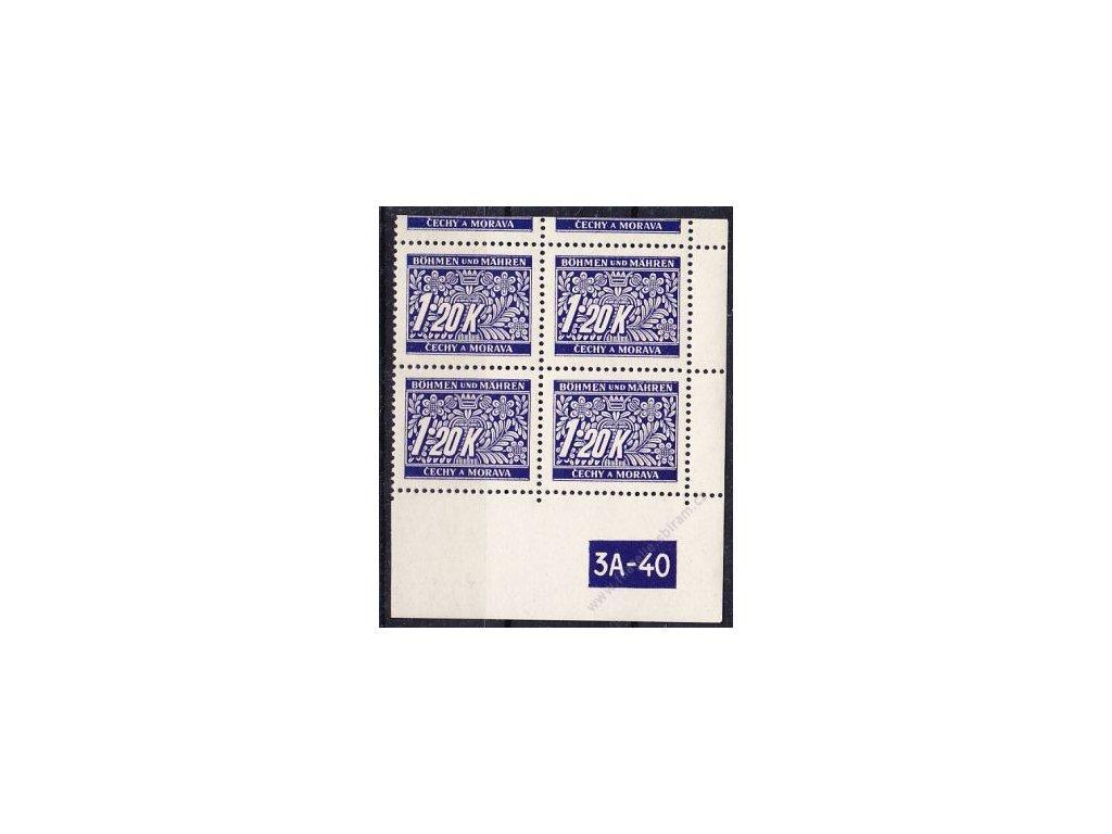 1.20K modrá, pravý roh. 4blok s okrajem s DČ 3A-40, varianta X, Nr.DL10, **