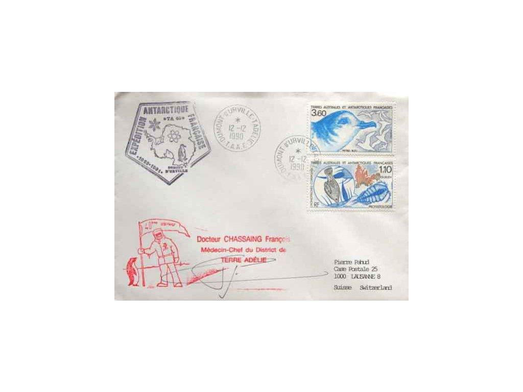 Antarktické území, 1990, DR Dumomt 12.12., dopis, dv