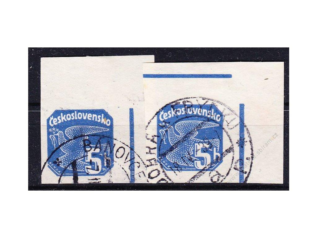 1937, 5h modrá, 2 pravé horní rohové kusy, 1krát lišta nahoře, 1krát bez, Nr.NV15, razítkova