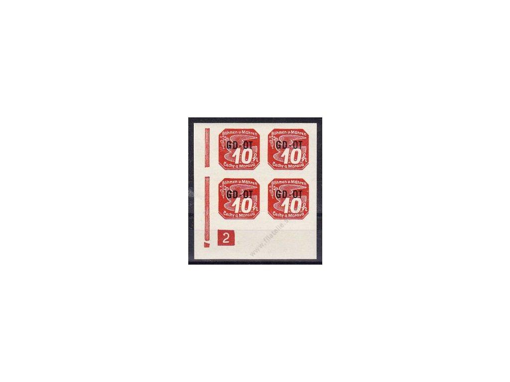 10h GD-OT, roh. 4blok s DČ 2, Nr.OT.1, **, dv - lehký archový obtisk