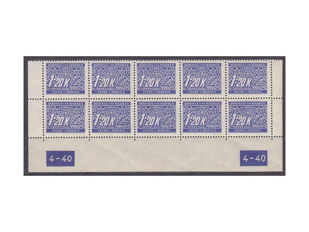1.20K modrá, spodní 10blok s DČ 4-40, var-X-X, Nr.DL10, **